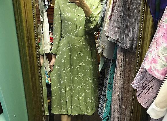 青羽毛長袖連身裙