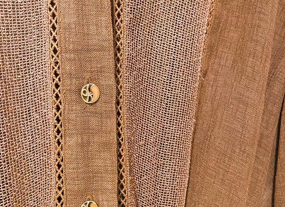 棕啡色紗網短袖連身裙