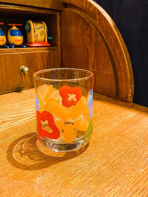 紅黃藍大花古典玻璃杯