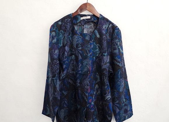 紫藍布織花長袖外衣