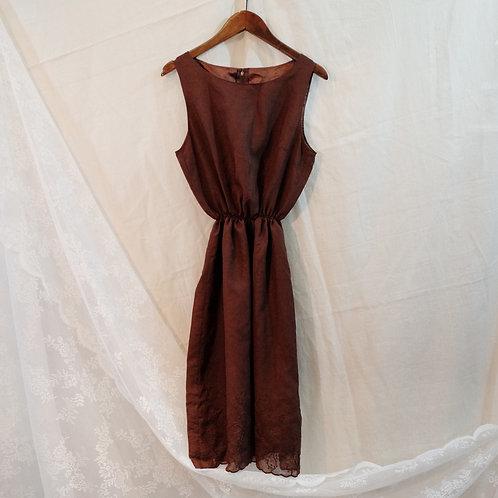 棕色暗花背心連身裙