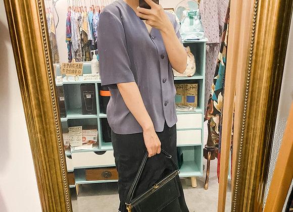 深紫V領上衣
