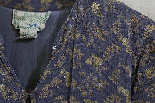 灰杏碎葉紋短袖長連身裙