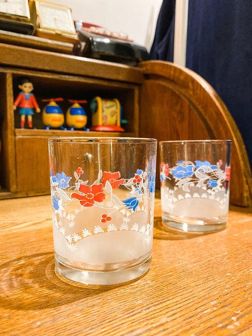 紅藍大花古典玻璃杯