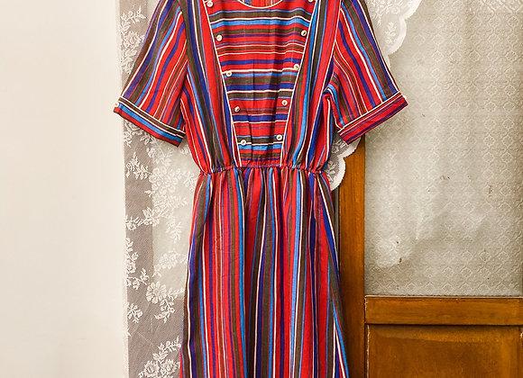 紅白直紋短袖連身裙