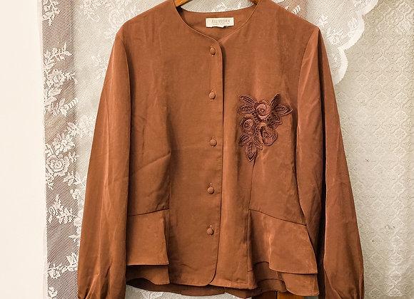 棕啡喱士袋口長袖裇
