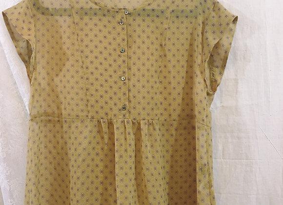 黃印花短袖薄紗上衣