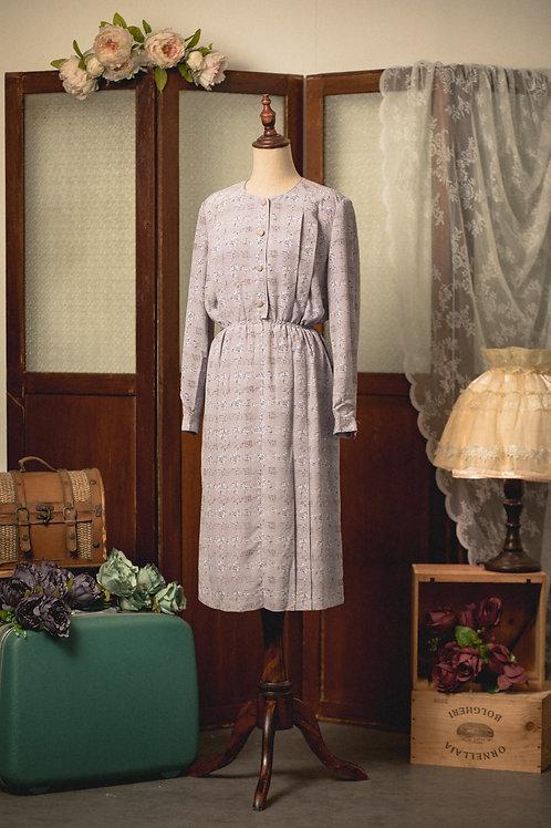 淺紫布紋長袖連身裙