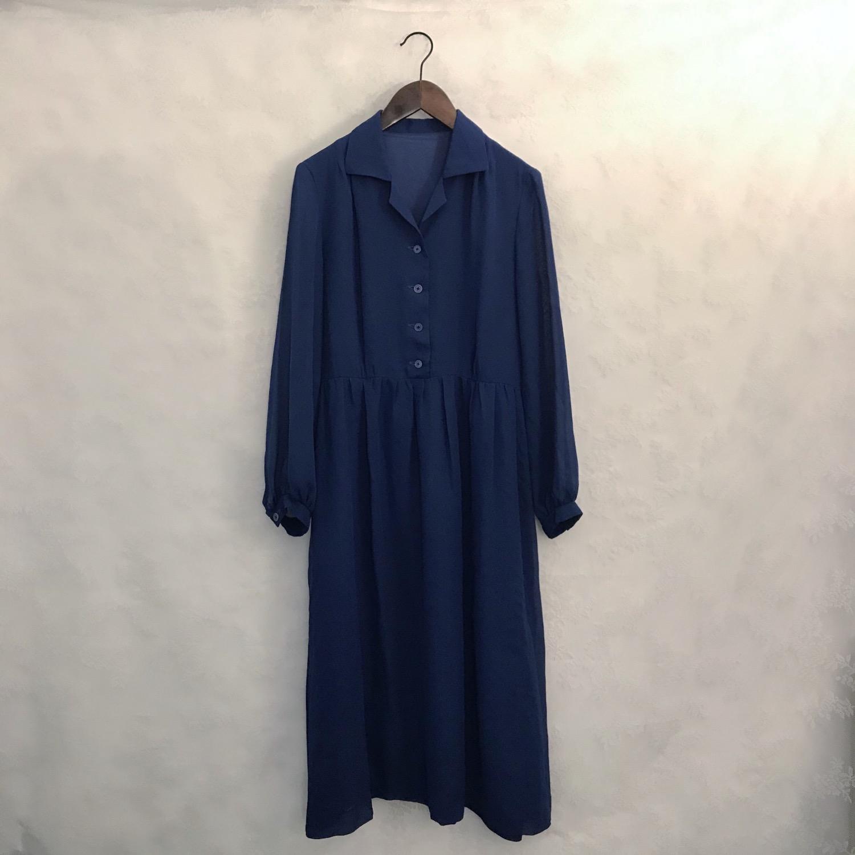 深藍暗紋薄長袖連身裙