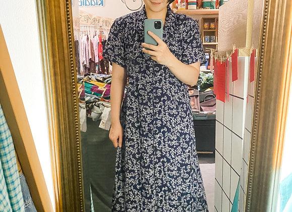 深藍白碎花短袖娃娃裙