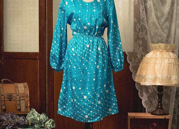 彩藍雞蛋花長袖連身裙