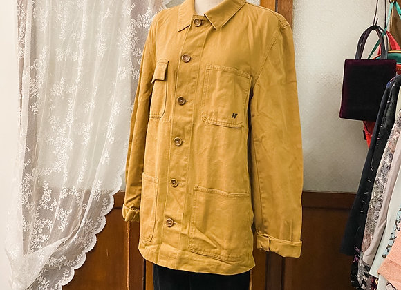 泥黃工裝長袖上衣