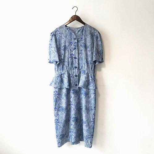 淺藍腰果花闊身連身裙