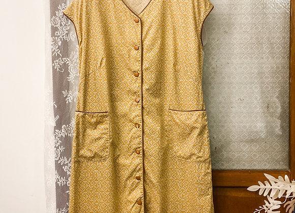 土黃楓葉紋入膊連身裙