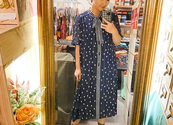 藍白蝴蝶領花短袖連身裙