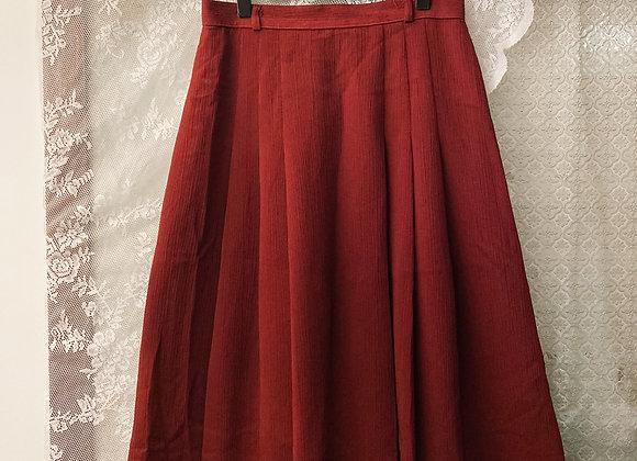 酒紅皺布半截裙