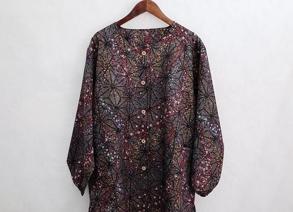 嬷紫星紋碎花長袖外衣