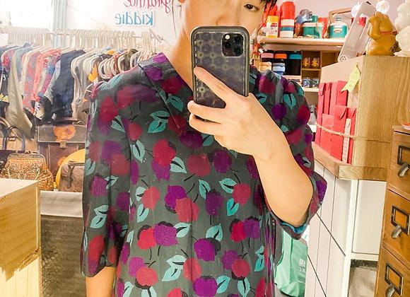 墨綠紫花短袖娃娃裙