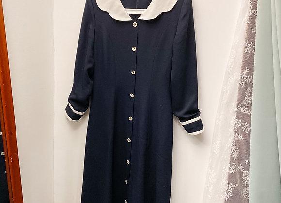 深藍圓領學院風長袖連身裙