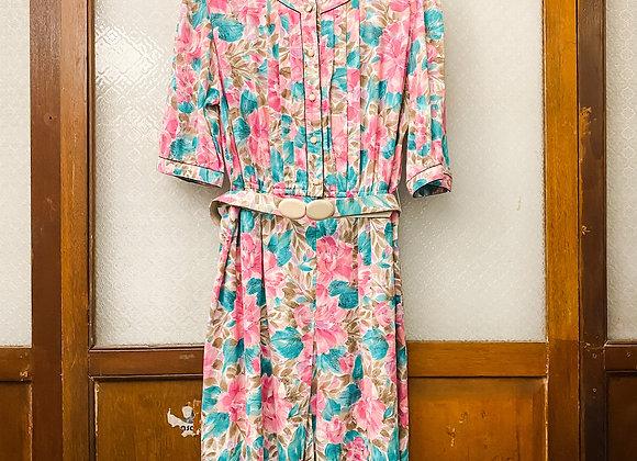 桃紅圓領短袖連身裙