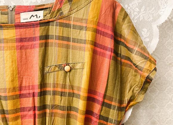 麻綠紅格紋短袖連身裙