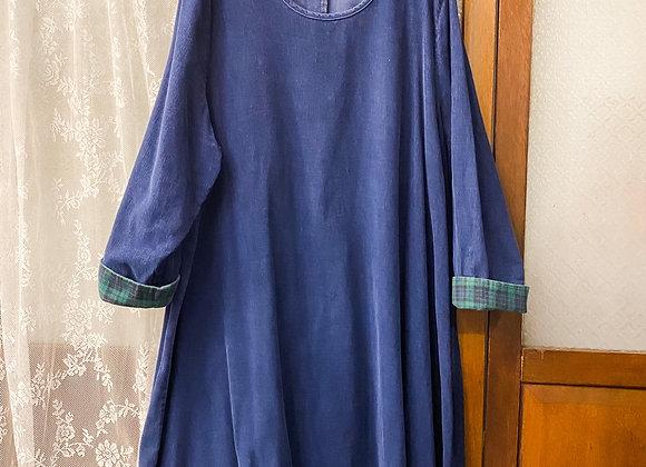 深藍圓領長袖娃娃裙