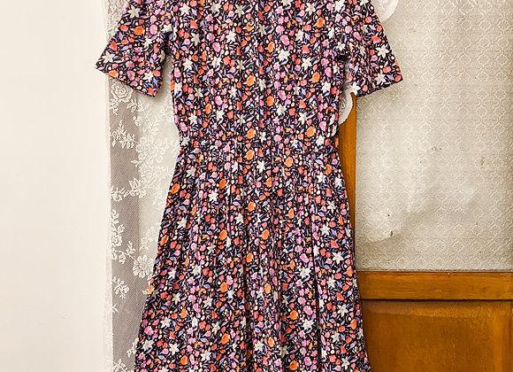 紫白橙花裇衫短袖連身裙