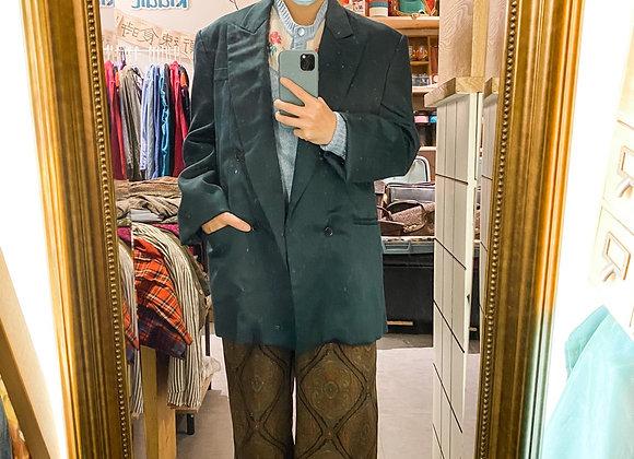墨綠長身西裝褸