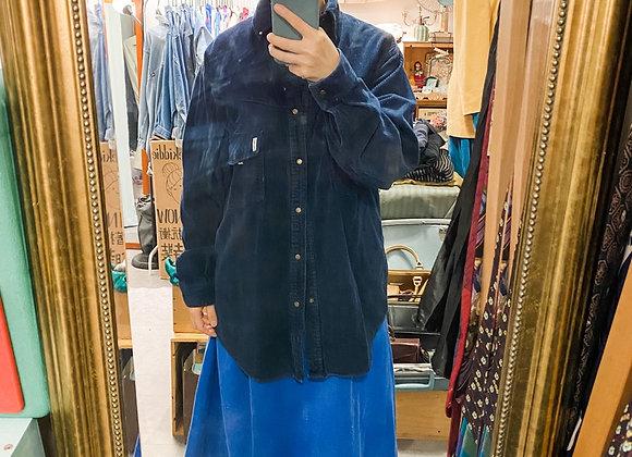 深藍登芯絨長袖外套