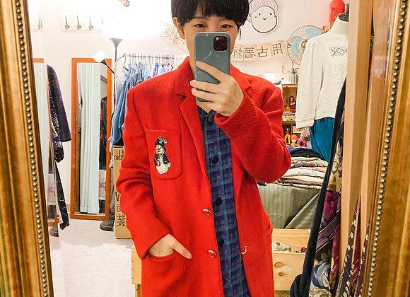 鮮紅雪人西裝長外套