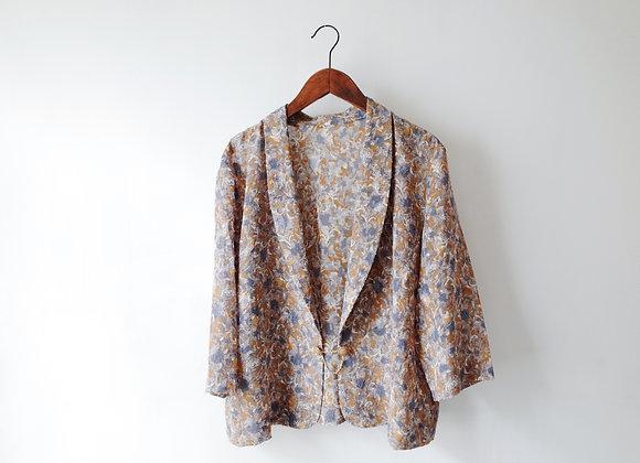 杏灰花紋長袖外衣