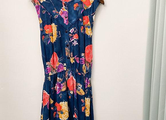 深藍彩花背心連身裙