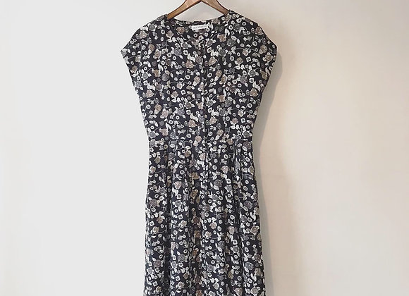 黑啡碎花闊身連身裙