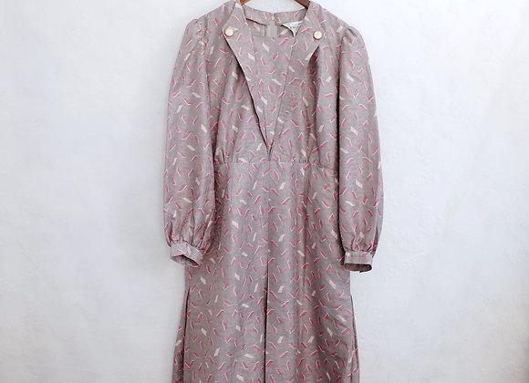 Robeen Ladam 紫灰斜格長袖連身裙