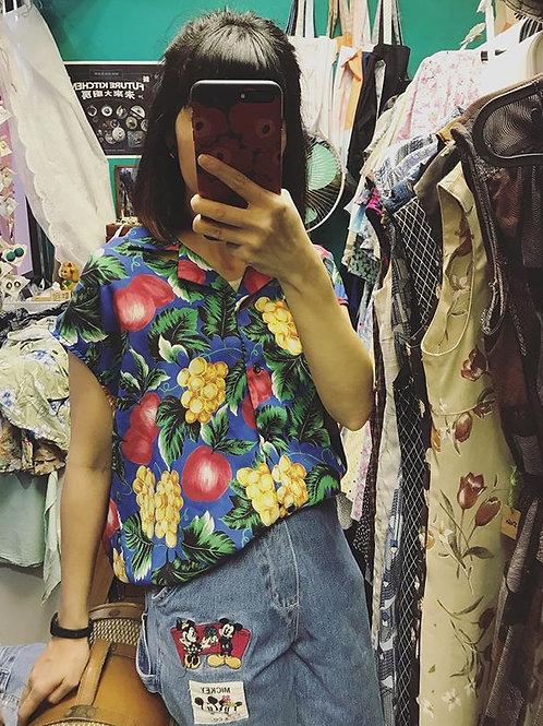夏日水果斜袖上衣