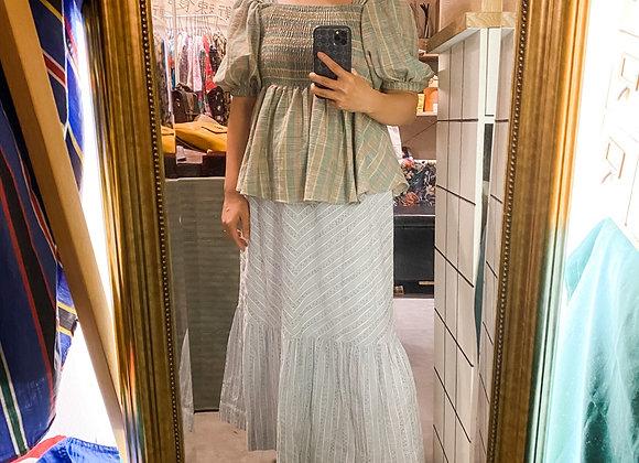淺藍白斜紋彩點傘裙