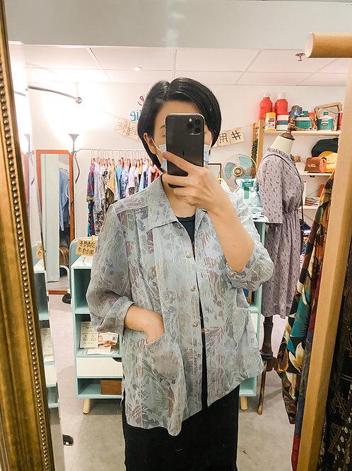 淺藍紫葉紋上衣
