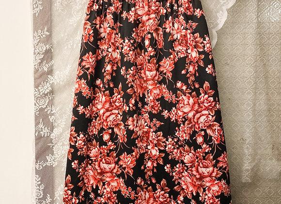 黑底粉紅牡丹A字裙