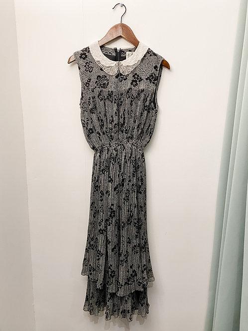 黑灰印花百摺連身裙