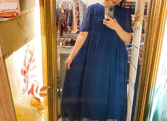 深藍百摺娃娃裙
