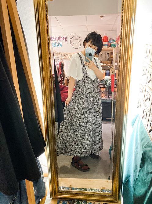 深灰小黃菊吊帶連身裙