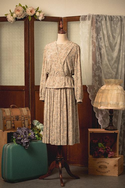 卡其葉紋長袖連身裙