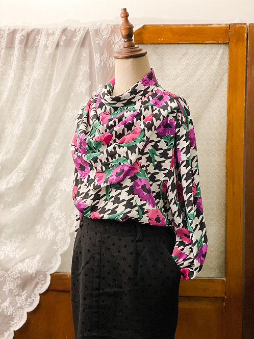 紫花黑白千鳥格領巾長袖上衣