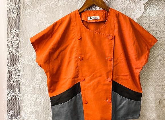 橙灰孖襟短袖上衣