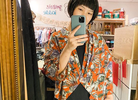 橙紅和風大花長袖外衣