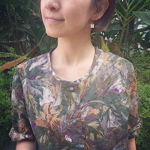 嬤嬤啡綠短袖襯衫