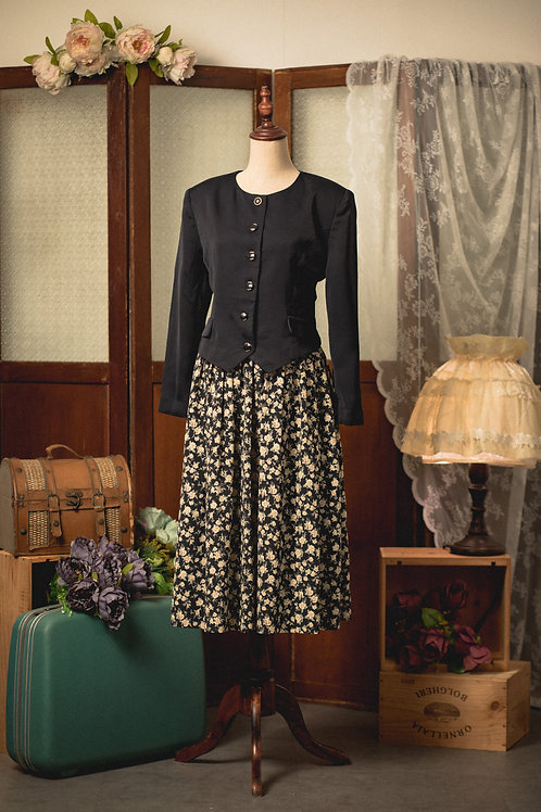 黑色碎花套裝長袖連身裙