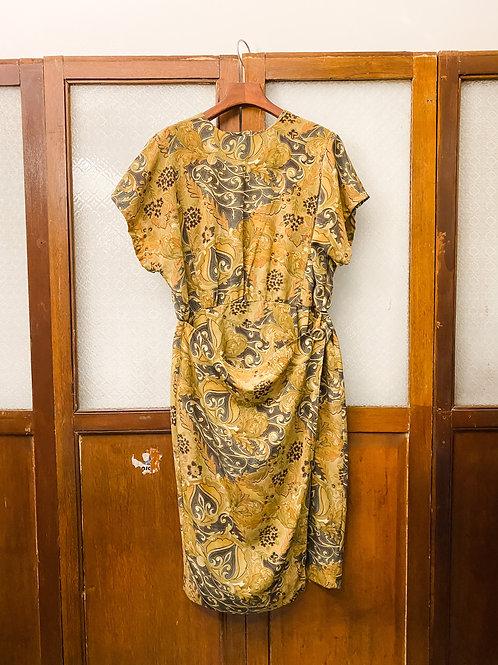 杏綠羅馬花短袖連身裙