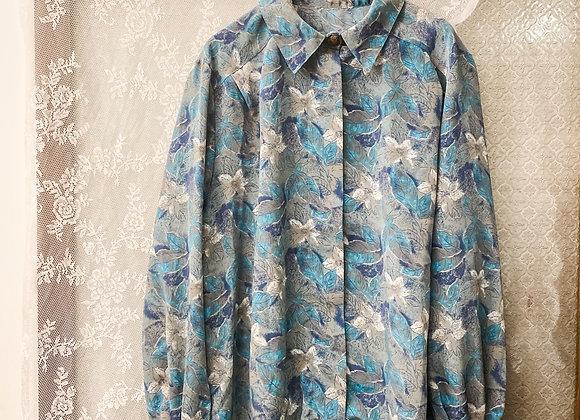 灰藍白花長袖裇