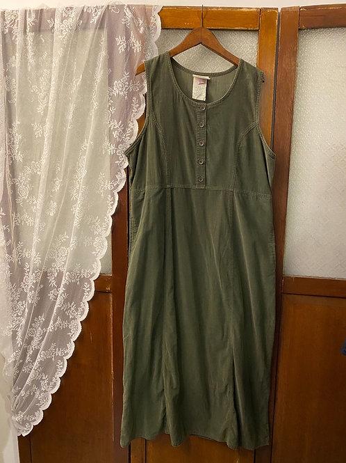 墨綠色背心連身長裙